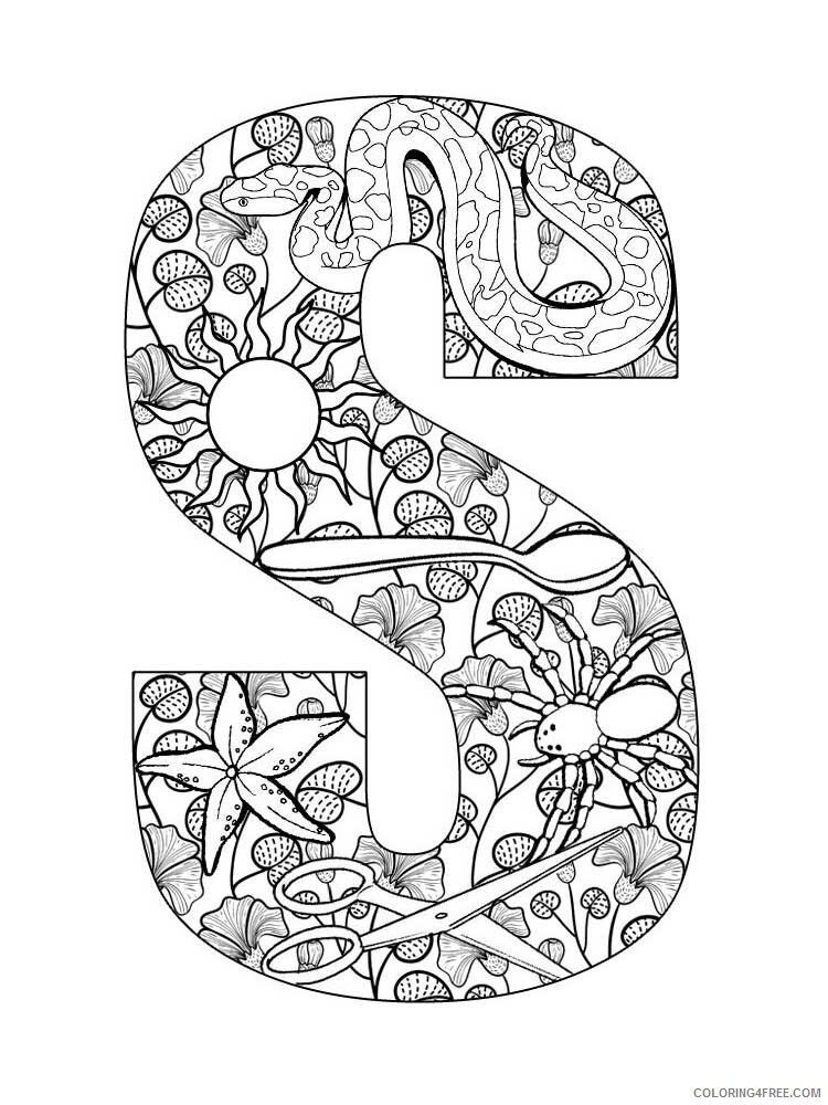 Letter S Coloring Pages Alphabet Educational Letter S Of 7 Printable 2020 224 Coloring4free Coloring4free Com