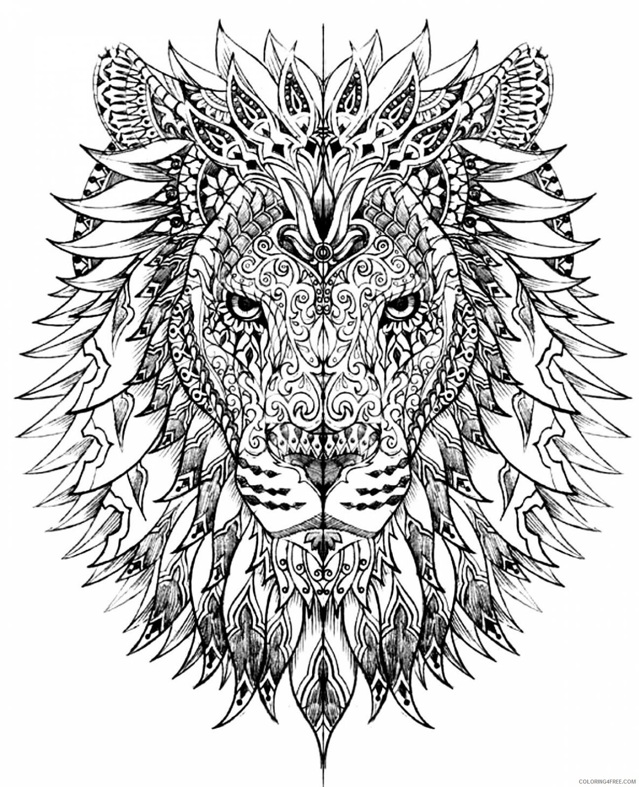 Lion Coloring Pages Adult Lion for Adults Printable 2020 495 Coloring4free