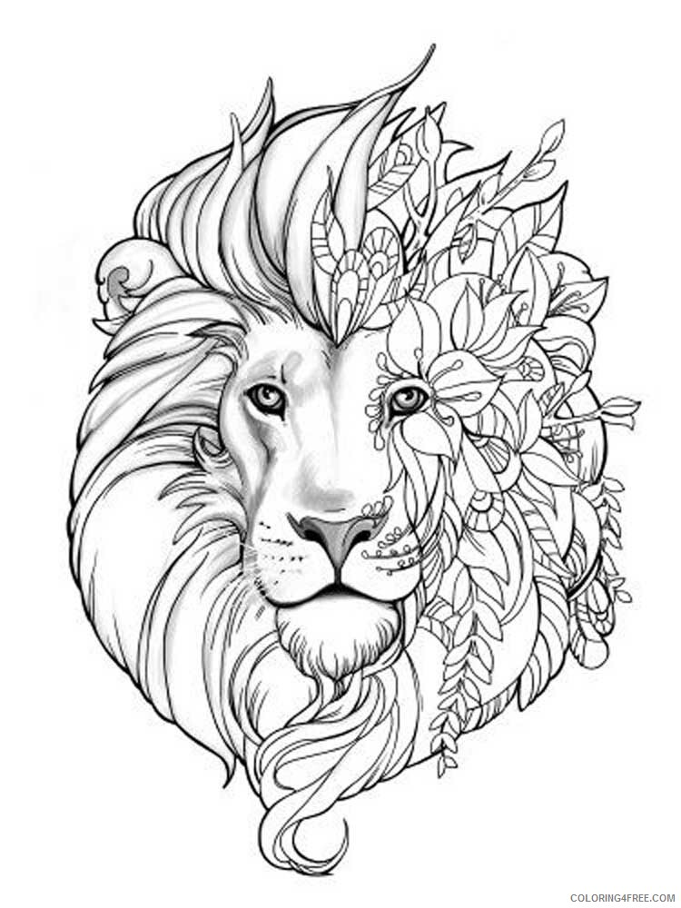 Lion Coloring Pages Adult lion for adults 1 Printable 2020 496 Coloring4free