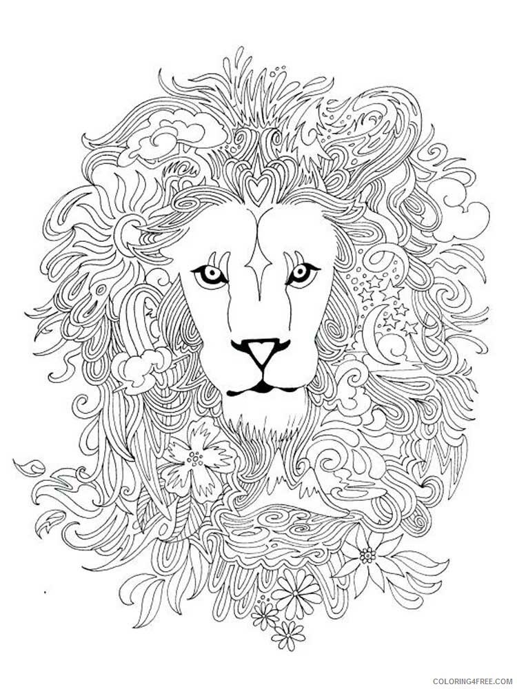 Lion Coloring Pages Adult lion for adults 11 Printable 2020 498 Coloring4free