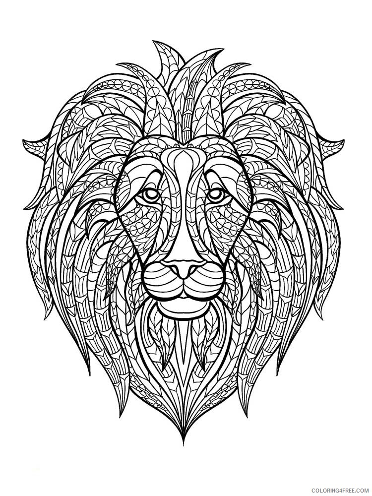Lion Coloring Pages Adult lion for adults 4 Printable 2020 503 Coloring4free