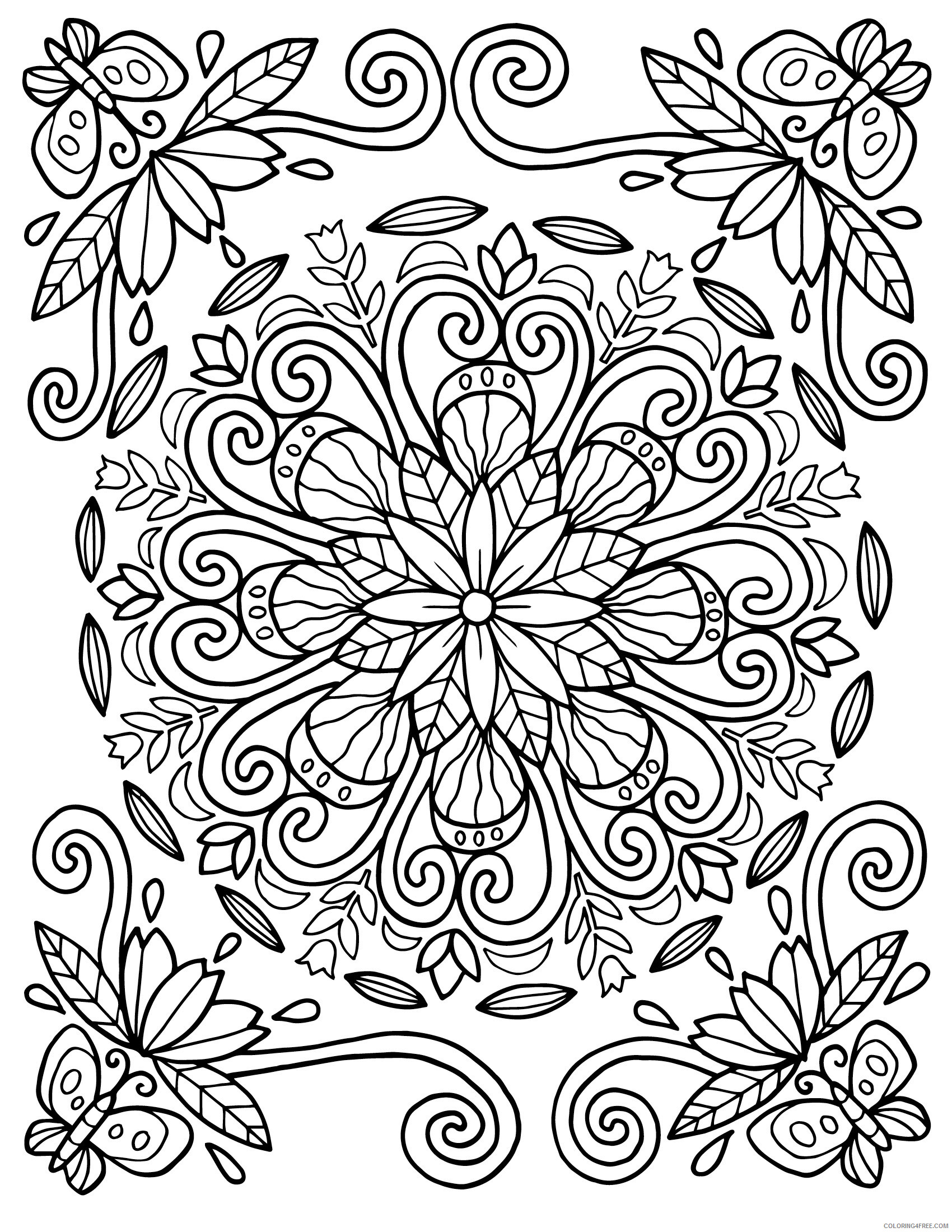 Mandala Coloring Pages Adult Floral Pattern For Adults Printable 2020 617 Coloring4free