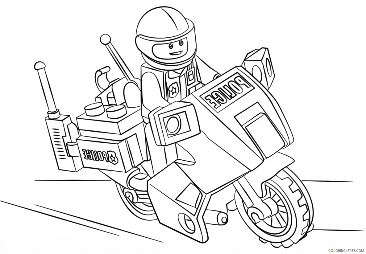 Police Coloring Pages For Boys Police Riding Motorcycle A4 Printable 2020 0791 Coloring4free Coloring4free Com
