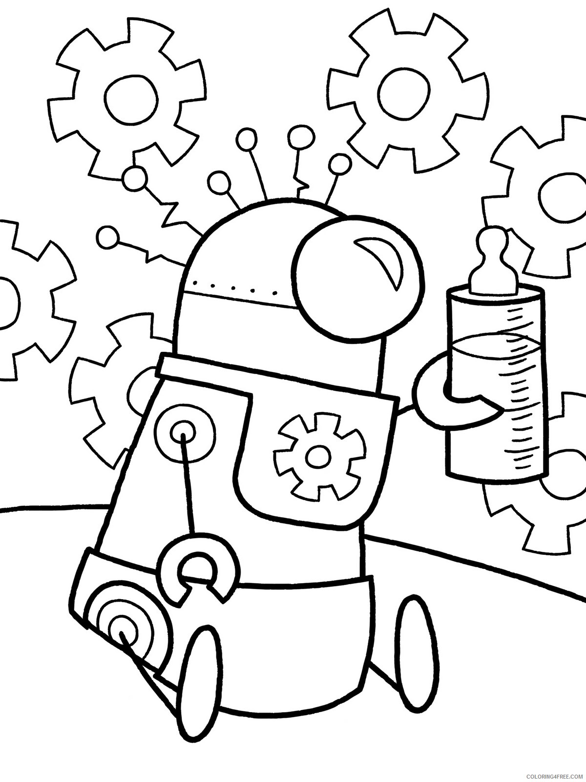 Robots Coloring Pages For Boys Cute Robot To Printable 2020 0831 Coloring4free Coloring4free Com