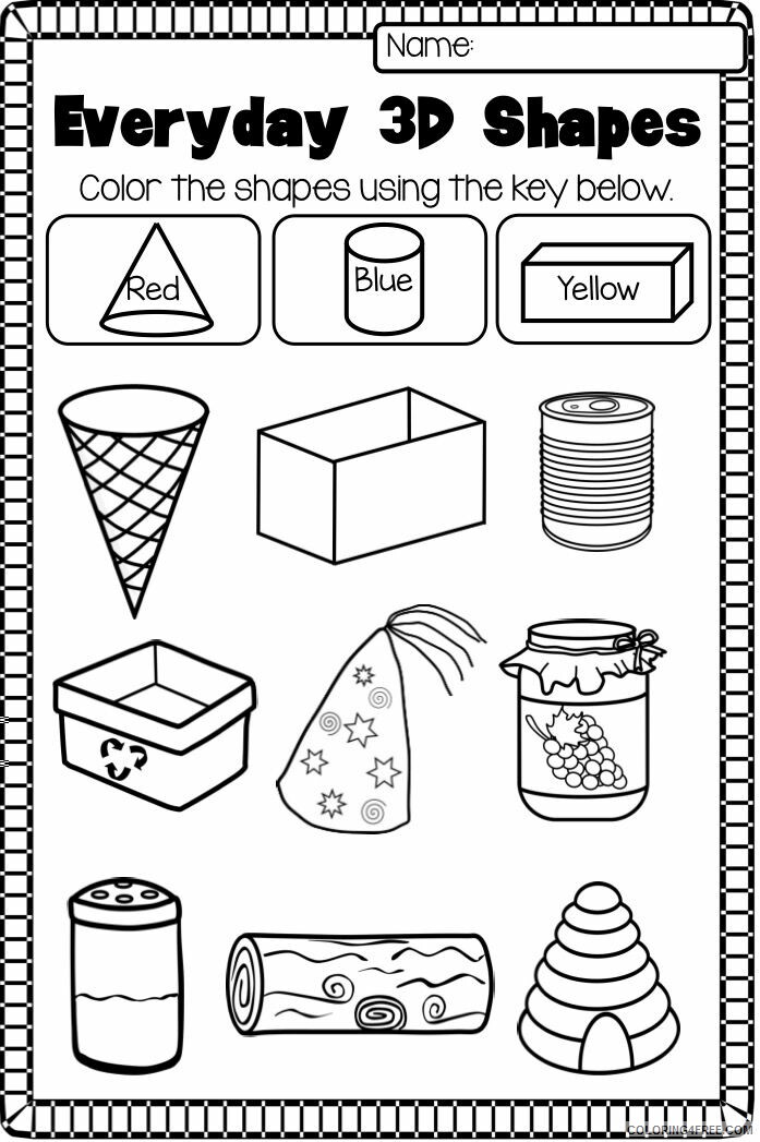 Shapes Coloring Pages Educational Kindergarten Worksheets Printable 2020  1882 Coloring4free - Coloring4Free.com