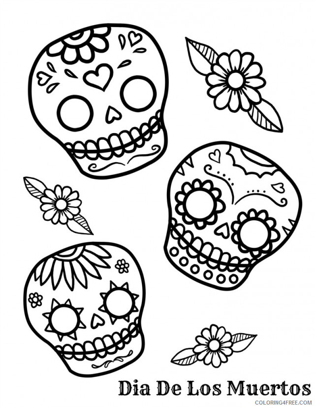 Skull For Adults Coloring Pages Skulls For Day Of The Dead Printable 2020  707 Coloring4free - Coloring4Free.com