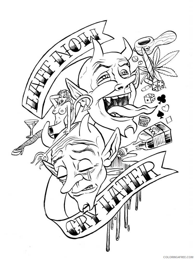 Tattoo For Adults Coloring Pages Tattoo For Adults 15 Printable 2020 788  Coloring4free - Coloring4Free.com