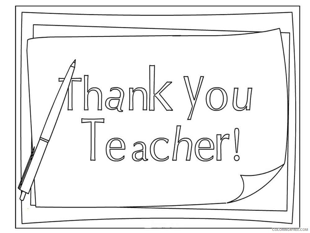 Teacher Appreciation Coloring Pages Educational Thank You Teacher 2020 1974  Coloring4free - Coloring4Free.com