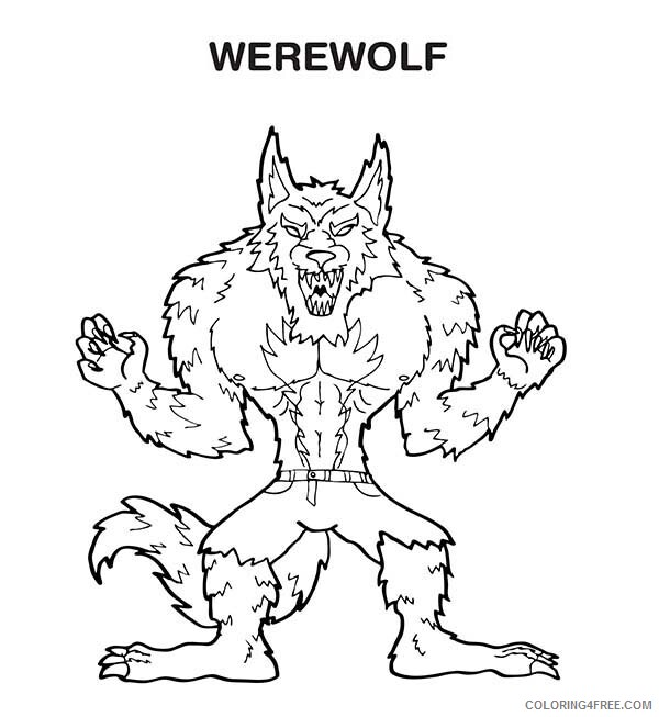 Werewolves Coloring Pages For Boys W Is For Werewolf Printable 2020 1030 Coloring4free Coloring4free Com
