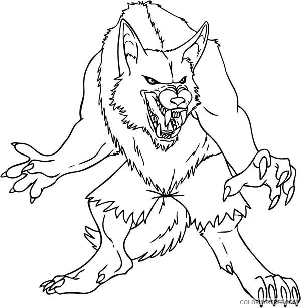 Werewolves Coloring Pages For Boys Werewolf Ready To Attack Printable 2020 1028 Coloring4free Coloring4free Com