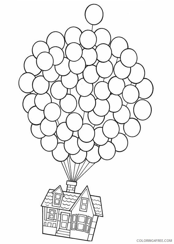 Balloons Coloring Pages for Kids balloon house in up a4 Printable 2021 030 Coloring4free