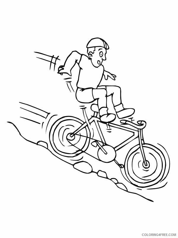 Bicycle Coloring Pages for Kids Bicycle Rider Falling Down from Hill 2021 059 Coloring4free