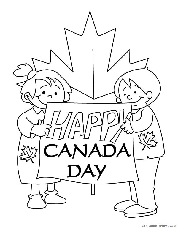 Canada Day Coloring Pages Holiday Couple of Childrens Making Sign for Canada Day Celebration Printable 2021 0050 Coloring4free