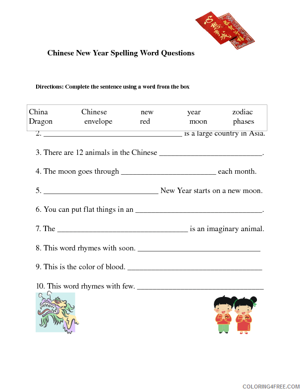Chinese New Year Coloring Pages Holiday Chinese New Year Spelling Holiday Worksheet Printable 2021 0085 Coloring4free