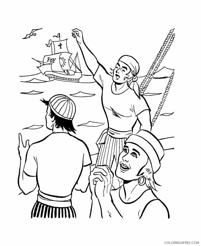 Columbus Day Coloring Pages Holiday Columbus Crews On Columbus Day Printable 2021 0137 Coloring4free