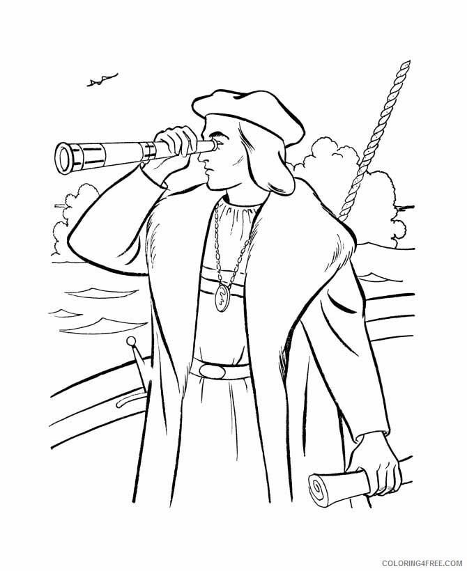 Columbus Day Coloring Pages Holiday Columbus Using Spyglass On Columbus Day Printable 2021 0160 Coloring4free