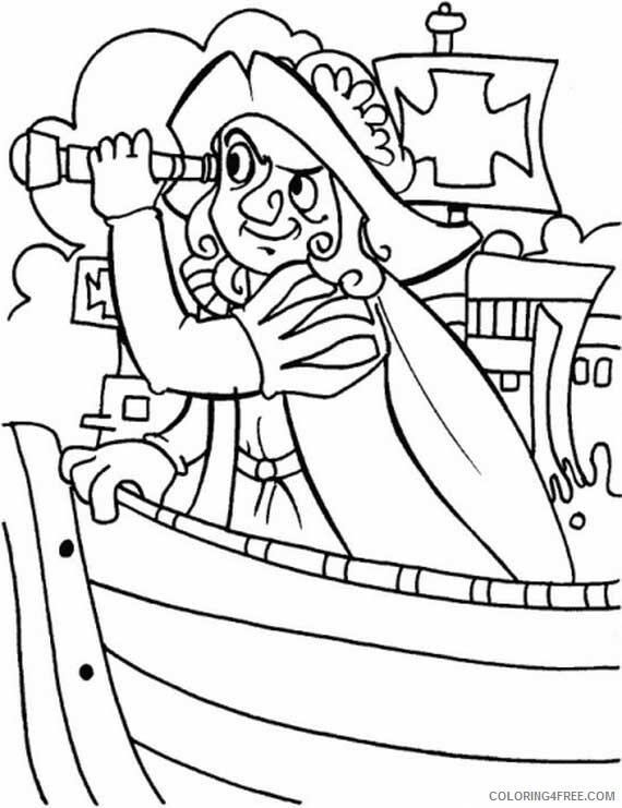 Columbus Day Coloring Pages Holiday Columbus With Spyglass On Columbus Day Printable 2021 0161 Coloring4free