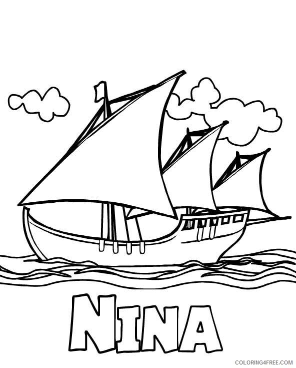 Columbus Day Coloring Pages Holiday Nina Columbus Day Printable 2021 0164 Coloring4free