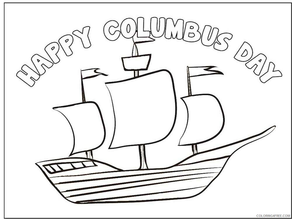 Columbus Day Coloring Pages Holiday columbus day 2 Printable 2021 0146 Coloring4free