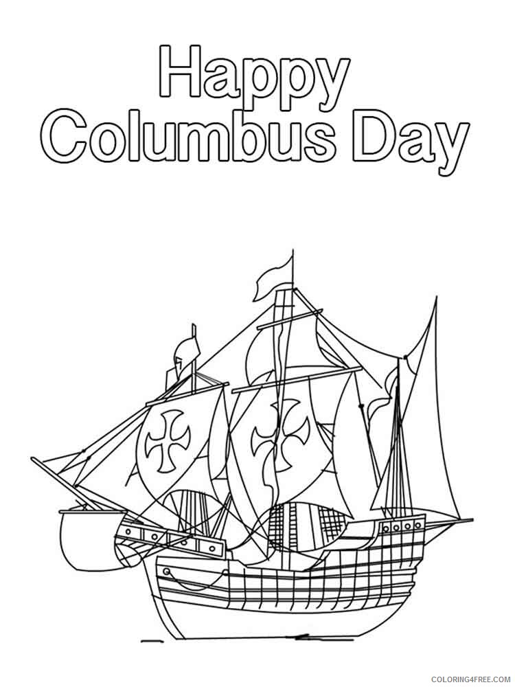 Columbus Day Coloring Pages Holiday columbus day 8 Printable 2021 0151 Coloring4free