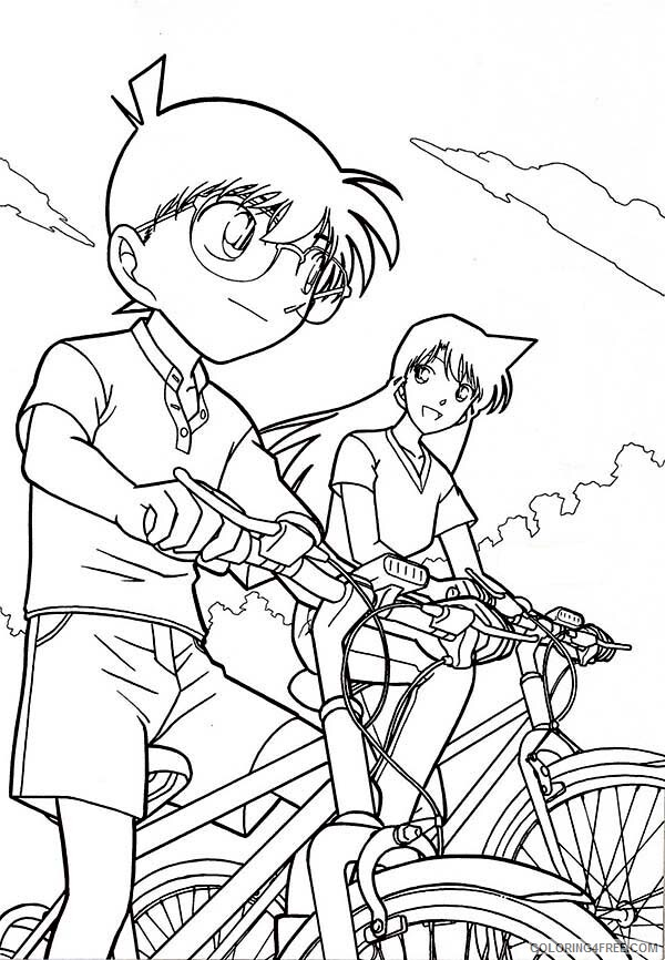 Detective Coloring Pages For Kids Detective Conan Ride Bike With Ran 2021 137 Coloring4free Coloring4free Com
