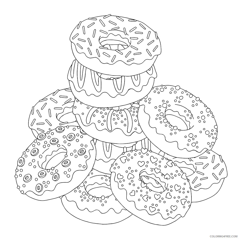 Donut Coloring Pages for Kids Stack of Donuts Printable 2021 158 Coloring4free