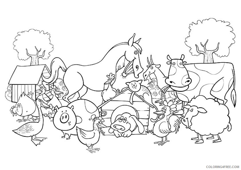 Farm Coloring Pages for Kids the gang of naughty animals at the farm 2021 Coloring4free