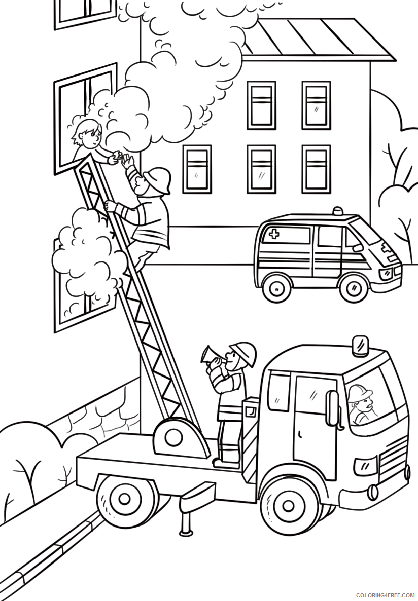 Firefighter Coloring Pages for Kids Fire Fighter Saving Child Printable 2021 255 Coloring4free