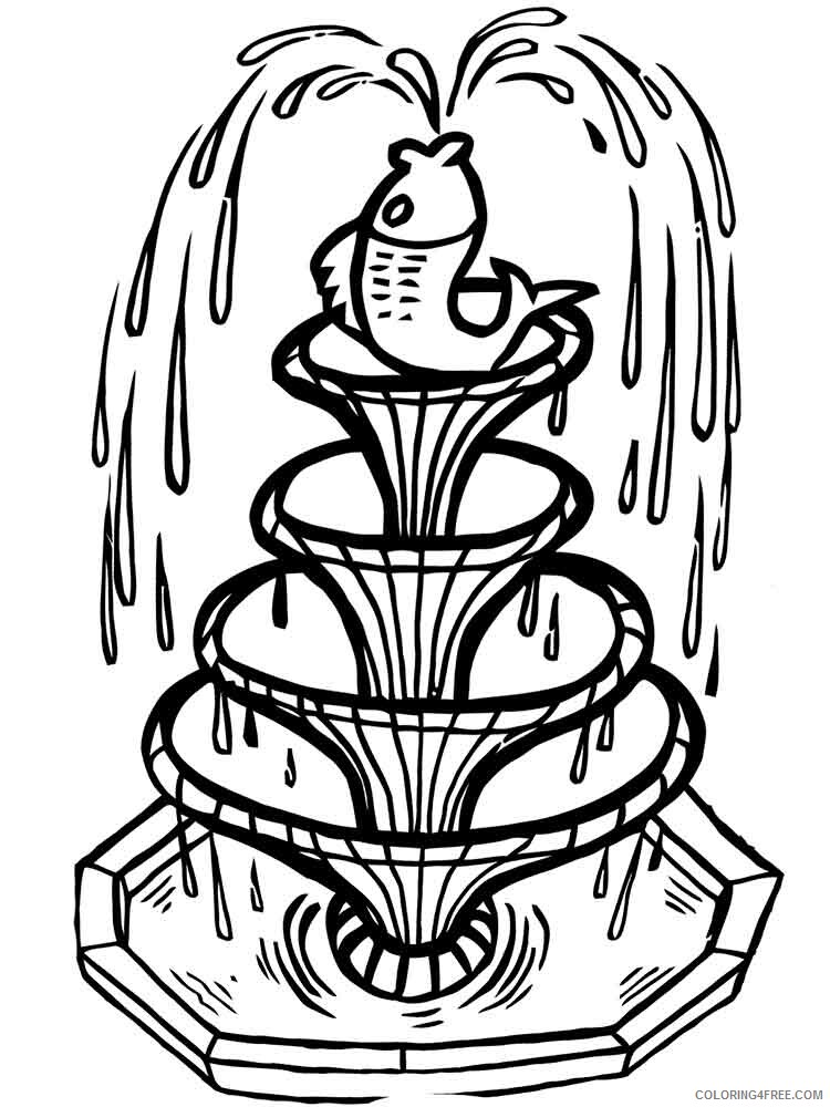Fountain Coloring Pages for Kids fountain 6 Printable 2021 268 Coloring4free