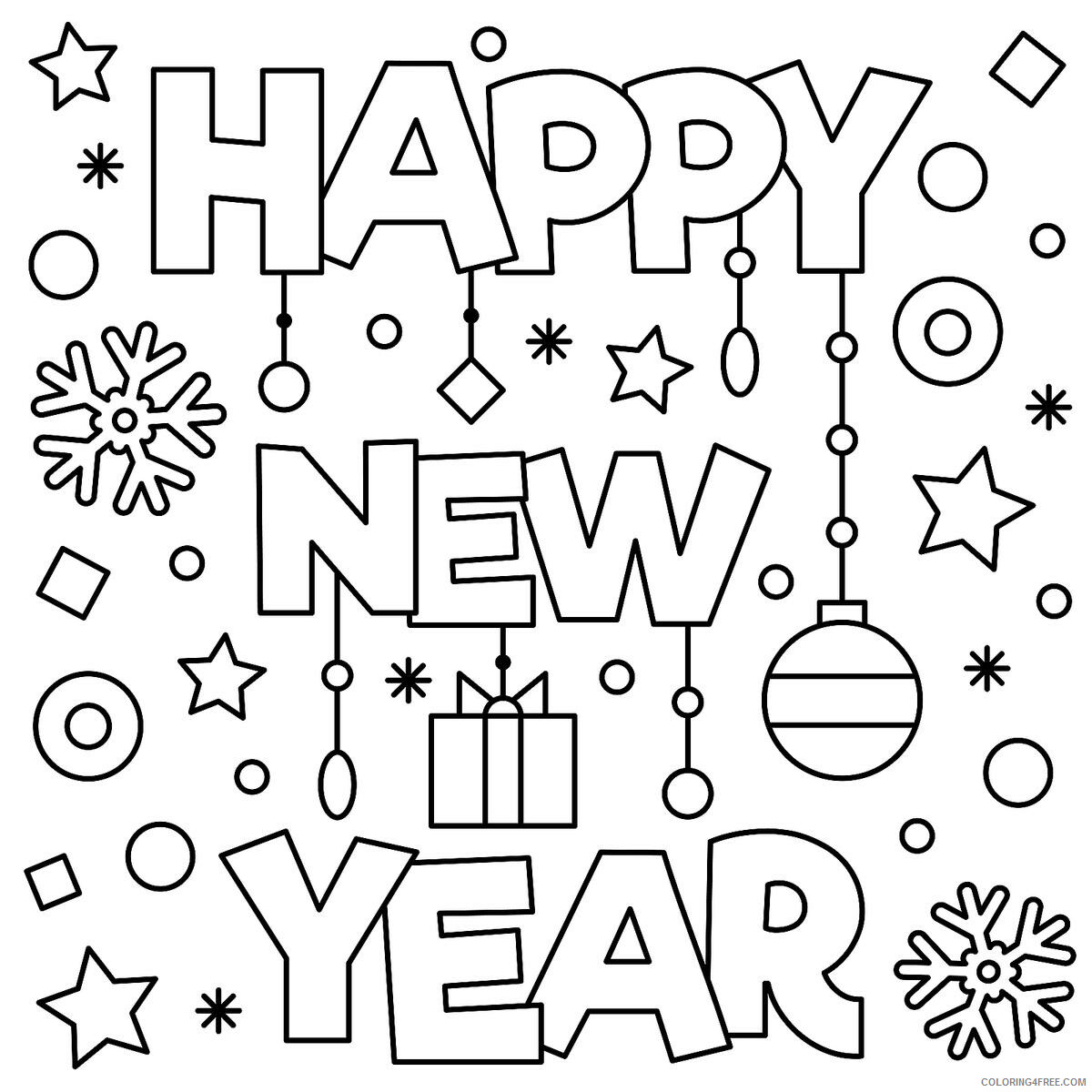 Happy New Year Coloring Pages Holiday Happy New Year Printable 2021 0741 Coloring4free Coloring4free Com
