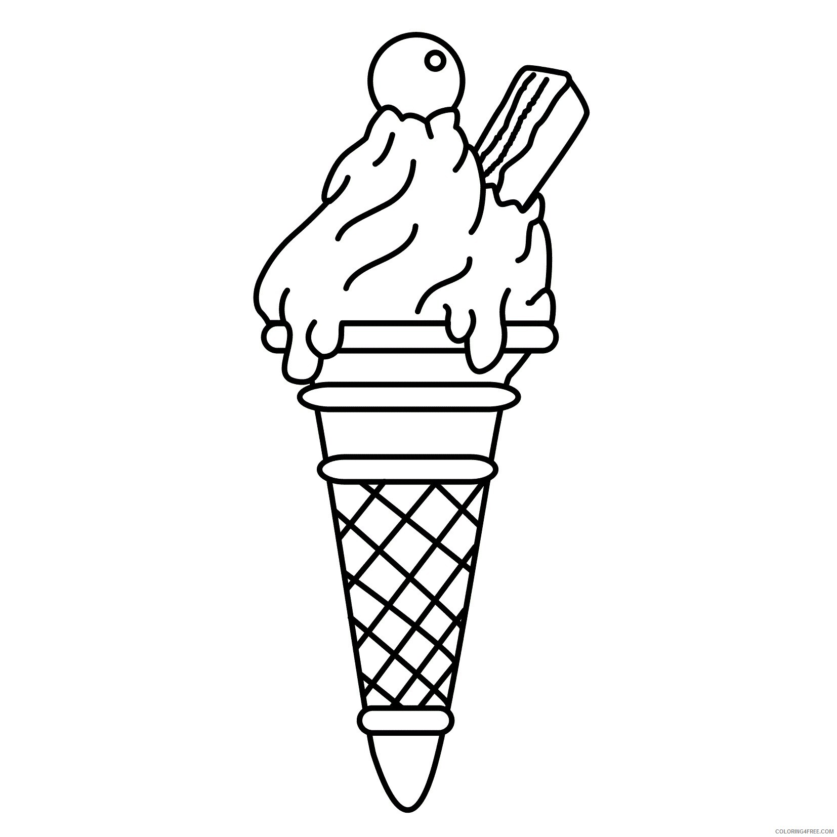 Ice Cream Coloring Pages for Kids Free Ice Cream Cone Printable 2021 354 Coloring4free