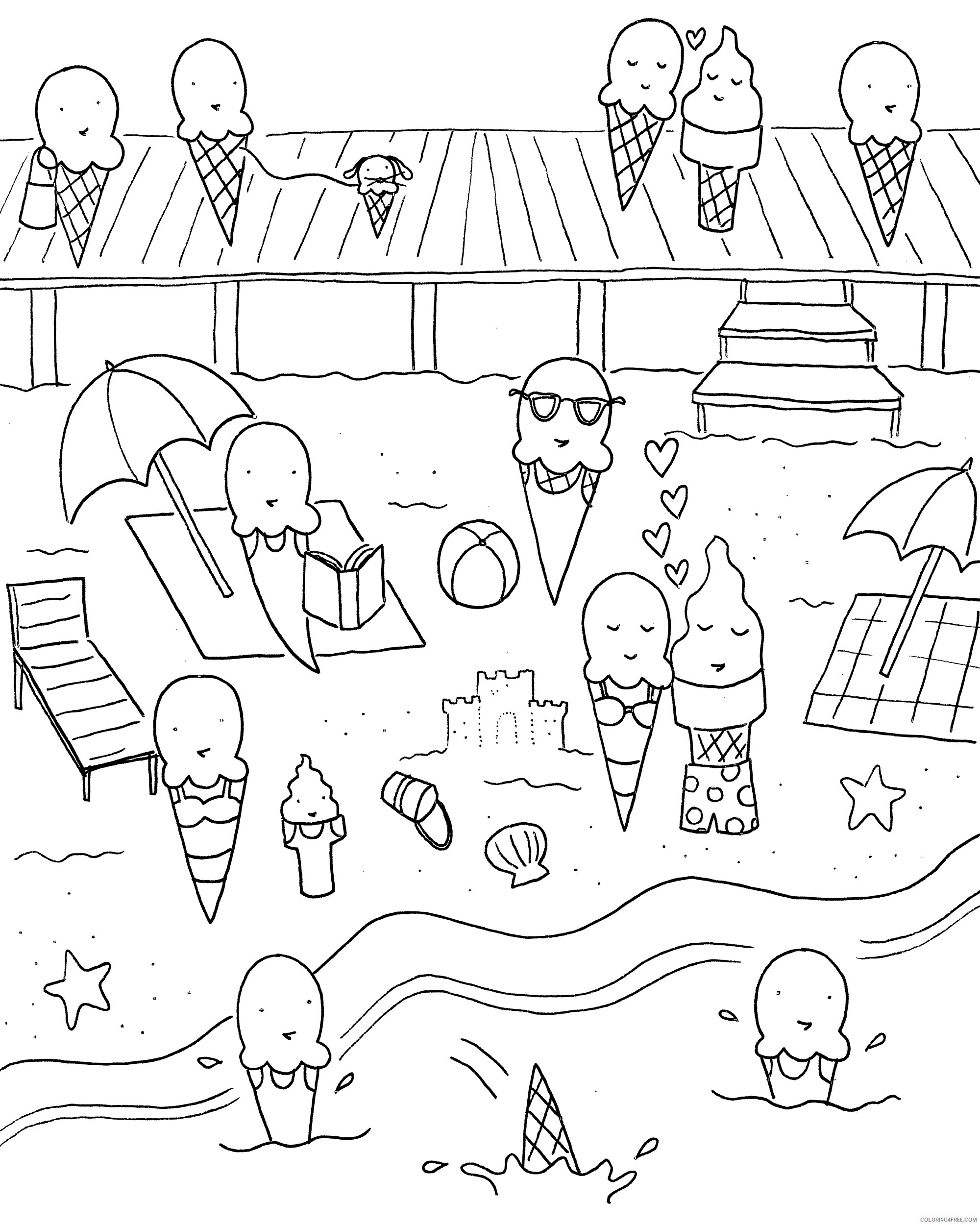Ice Cream Coloring Pages for Kids Ice Cream Beach Party Printable 2021 369 Coloring4free