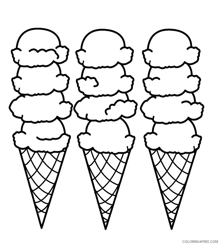 Ice Cream Coloring Pages for Kids Ice Cream Cone 2 Printable 2021 396 Coloring4free