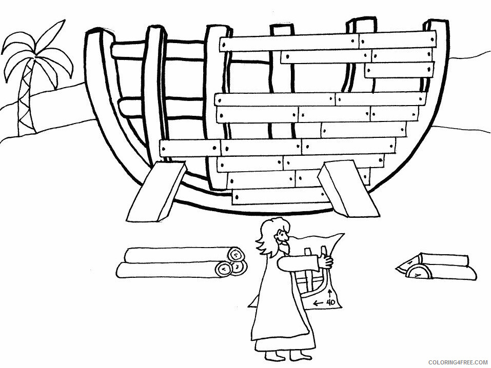 Noahs Ark Coloring Pages for Kids Noah Building the Ark Printable 2021 466 Coloring4free