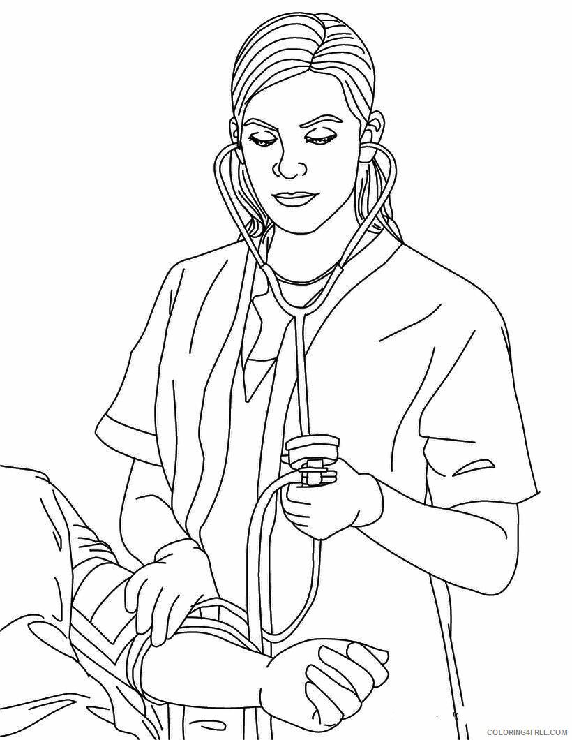 Nurse Coloring Pages for Kids Nurse Taking Blood Pressure Printable 2021 498 Coloring4free