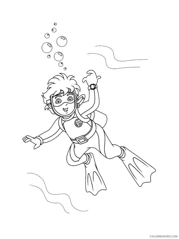 Scuba Diving Coloring Pages for Kids Scuba Diving 2 Printable 2021 535 Coloring4free