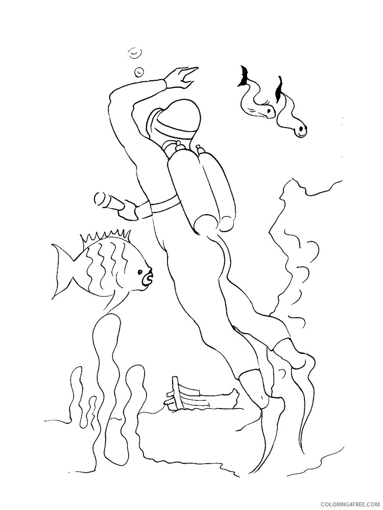 Scuba Diving Coloring Pages for Kids Scuba Diving 8 Printable 2021 540 Coloring4free