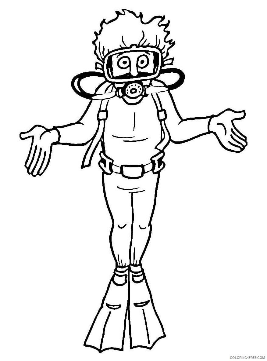 Scuba Diving Coloring Pages For Kids Scuba Diver Printable 2021 529 Coloring4free Coloring4free Com