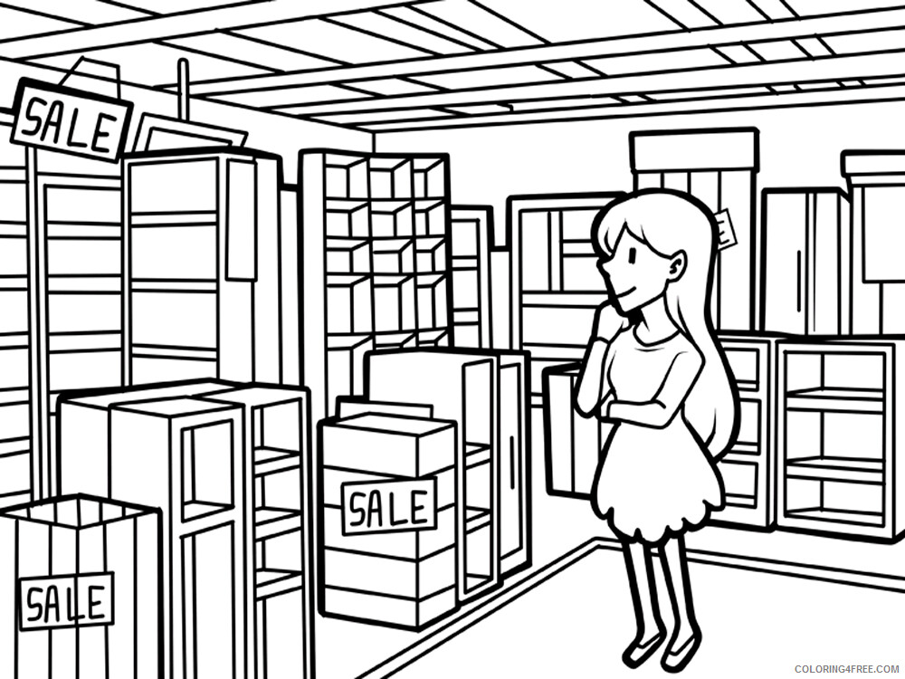 Shopping Coloring Pages for Kids Shopping 4 Printable 2021 550 Coloring4free