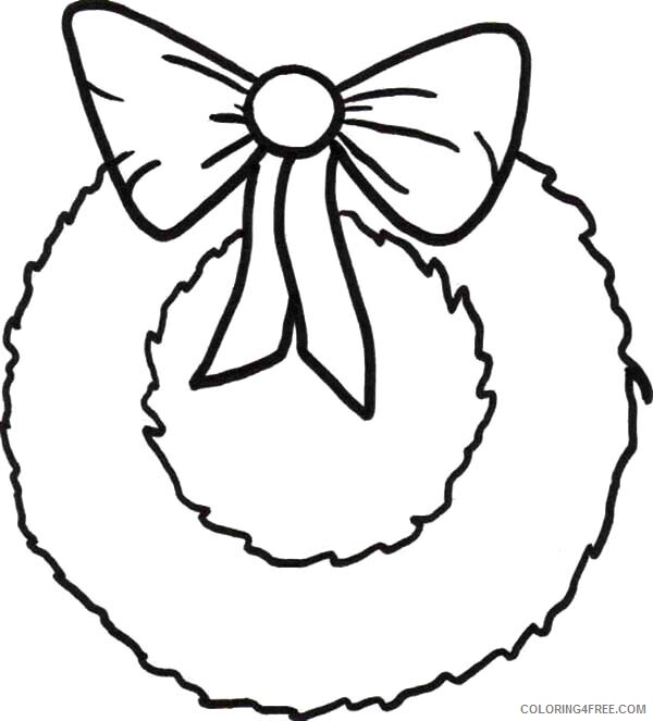 Simple Coloring Pages for Kids Christmas Wreaths with Ribbon Printable 2021 565 Coloring4free
