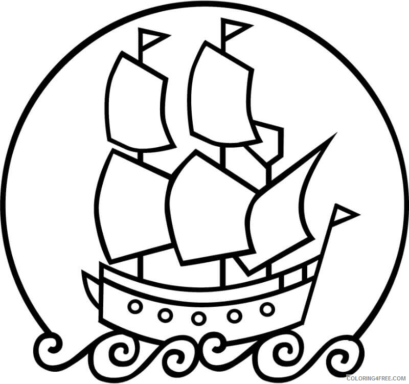 Simple Coloring Pages for Kids Simple Mayflower Printable 2021 597 Coloring4free