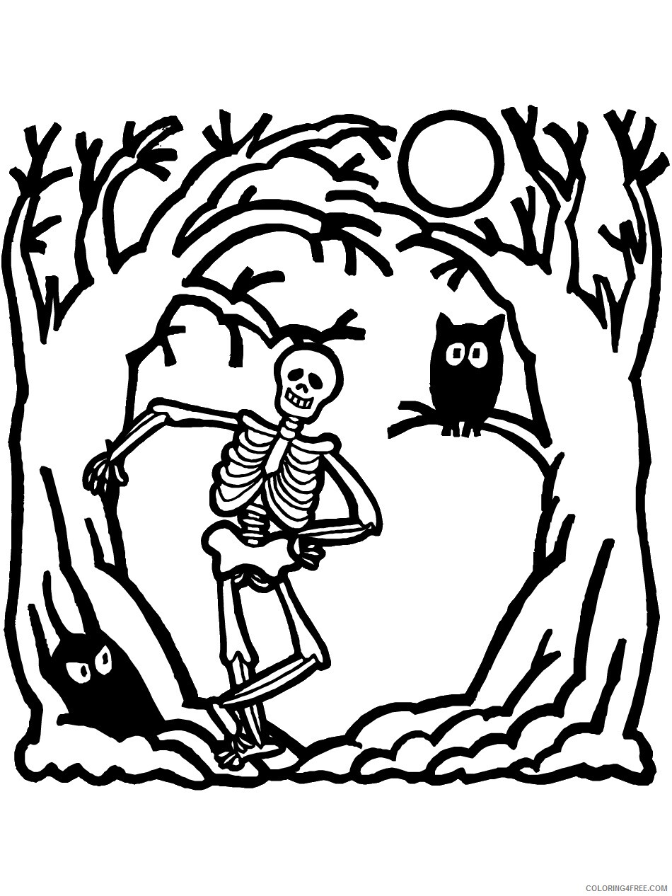 Skeleton Coloring Pages for Kids Free Skeleton For Kids Printable 2021 606 Coloring4free