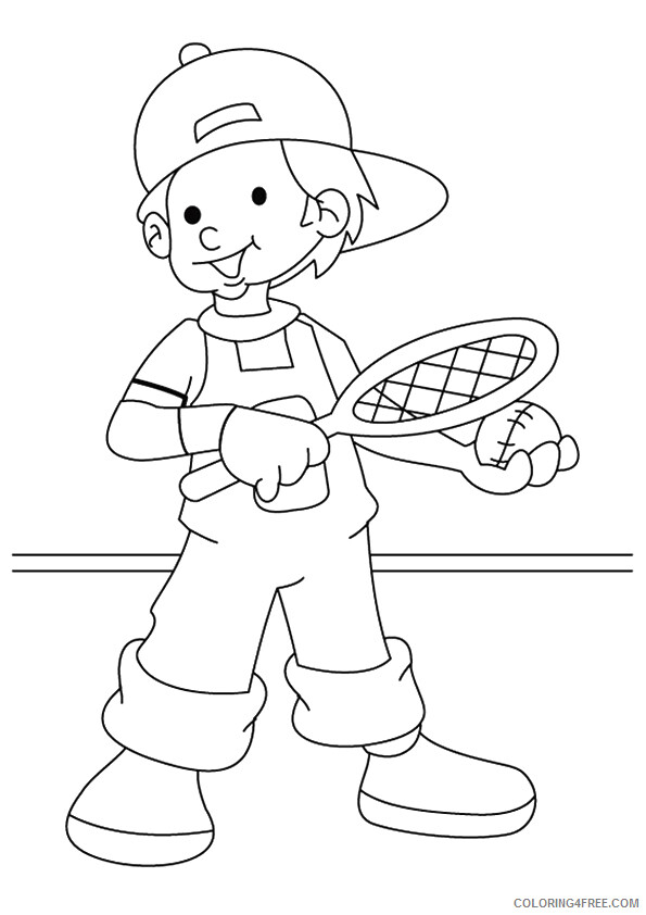 Tennis Coloring Pages for Kids the boy playing tennis Printable 2021 649 Coloring4free