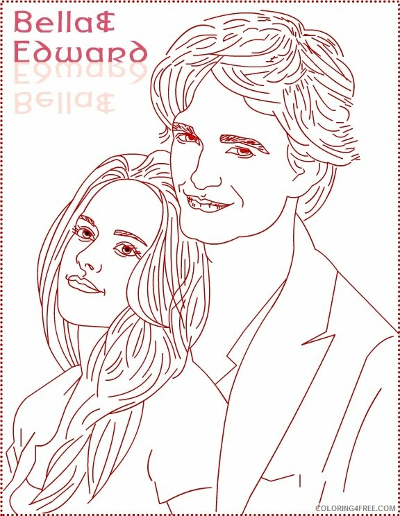 The Twilight Saga Coloring Pages for Girls edward bella draw Printable 2021 1380 Coloring4free