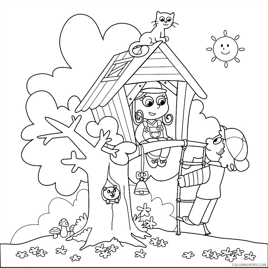 Treehouse Coloring Pages for Kids Cute Treehouse Printable 2021 696 Coloring4free