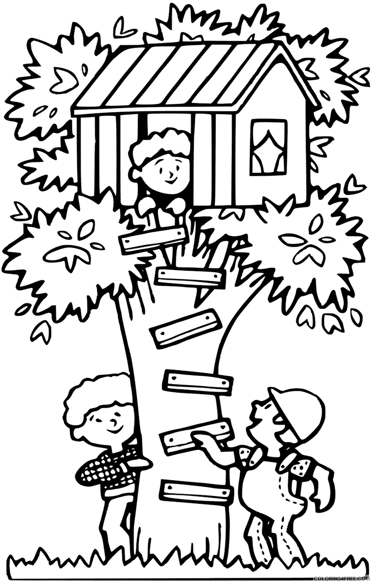 Treehouse Coloring Pages for Kids Fun Treehouse Printable 2021 697 Coloring4free