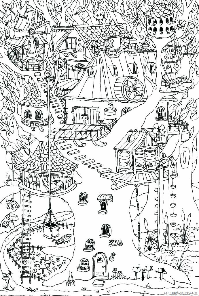 Treehouse Coloring Pages for Kids Hard Treehouse Printable 2021 698 Coloring4free