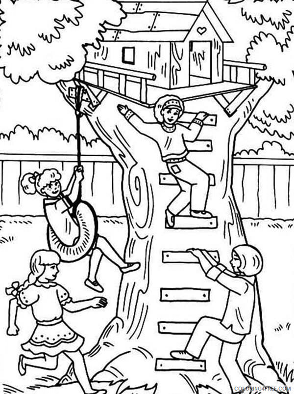 Treehouse Coloring Pages for Kids Kids Playing in Treehouse Printable 2021 699 Coloring4free