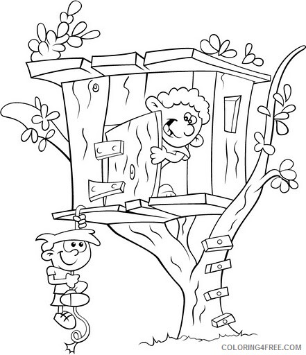 Treehouse Coloring Pages for Kids Tree House Printable 2021 705 Coloring4free