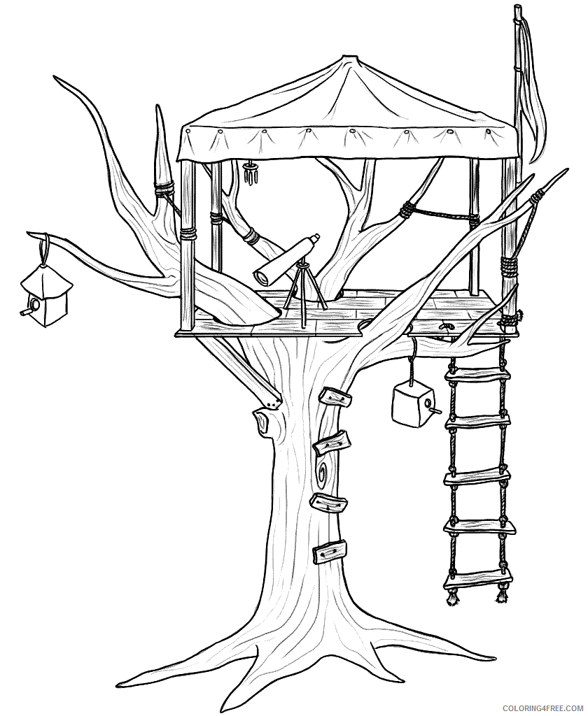 Treehouse Coloring Pages for Kids Treehouse Printable 2021 704 Coloring4free